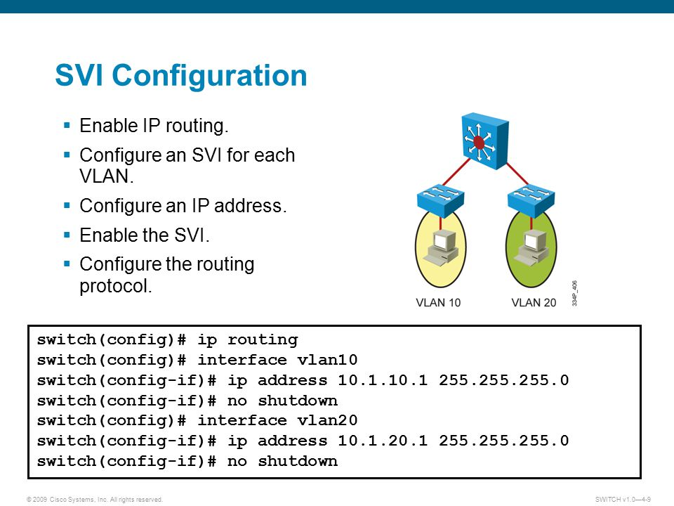 SVI Configuration Enable IP routing. Configure an SVI for each VLAN.