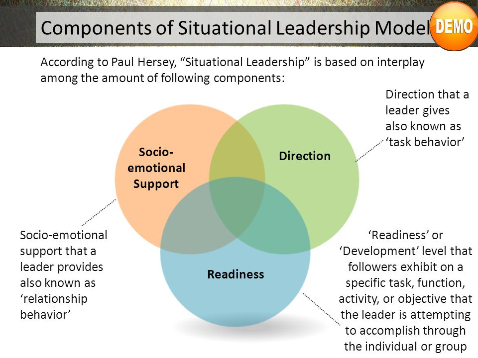 hersey blanchard s situational leadership theory The hersey-blanchard situational leadership theory is one that is based around variable leadership, depending on a variety of circumstances the four leadership styles that are presented in this theory are telling, selling, participating, and delegating.