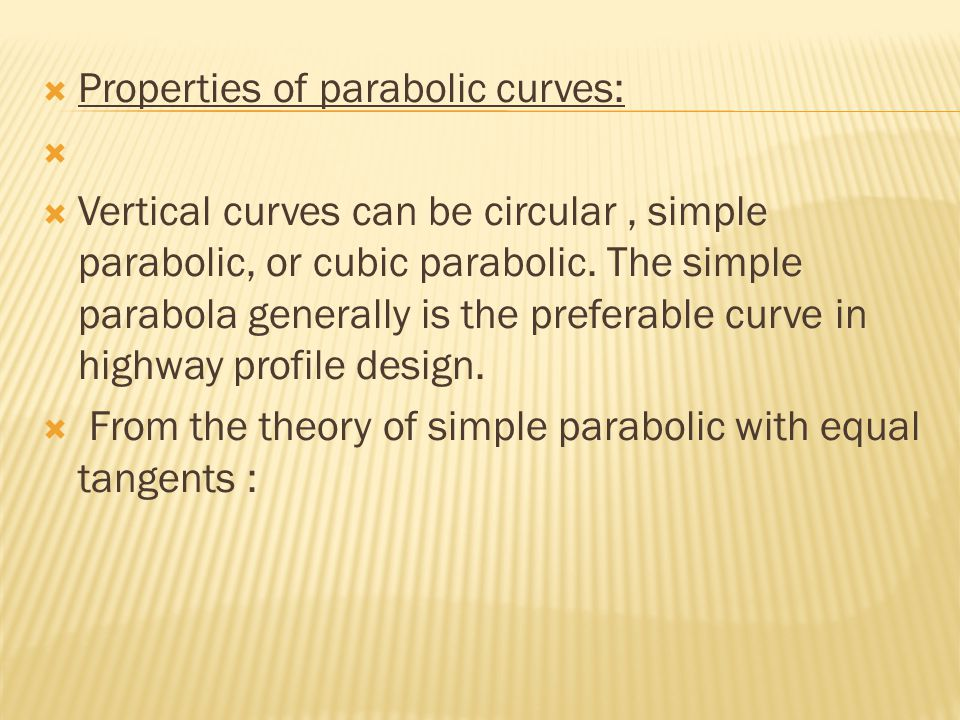 Properties of parabolic curves: