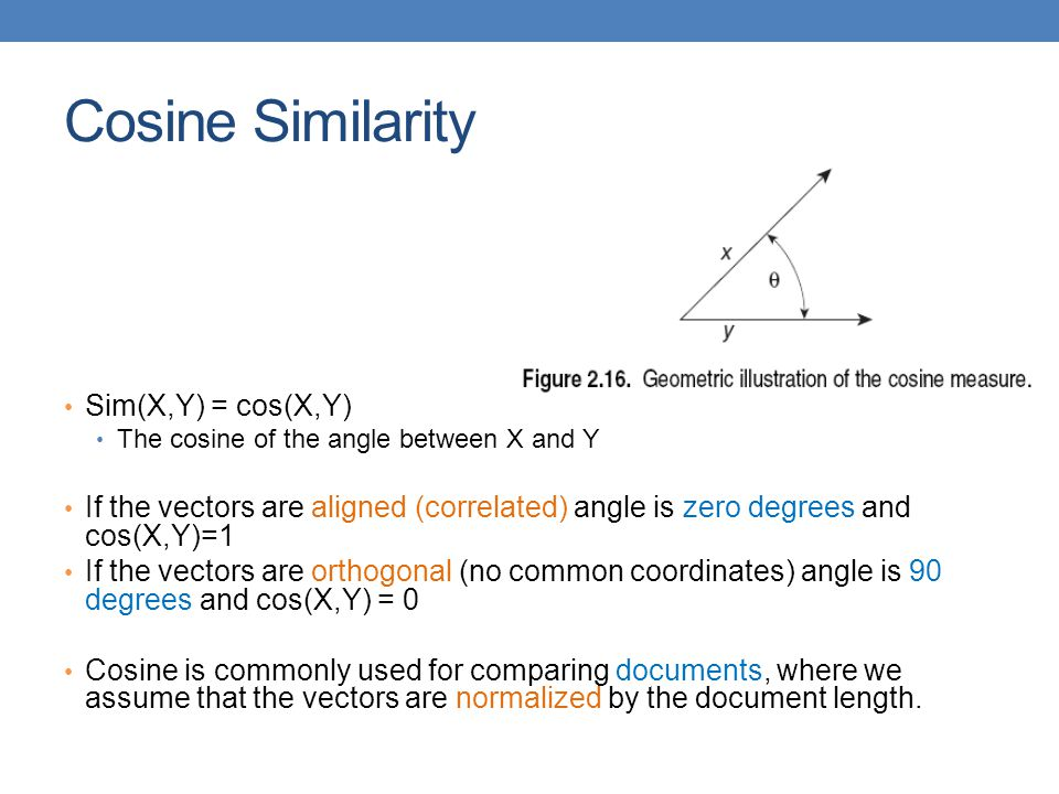 Cosine Similarity Sim(X,Y) = cos(X,Y)