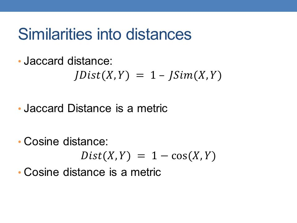 Similarities into distances