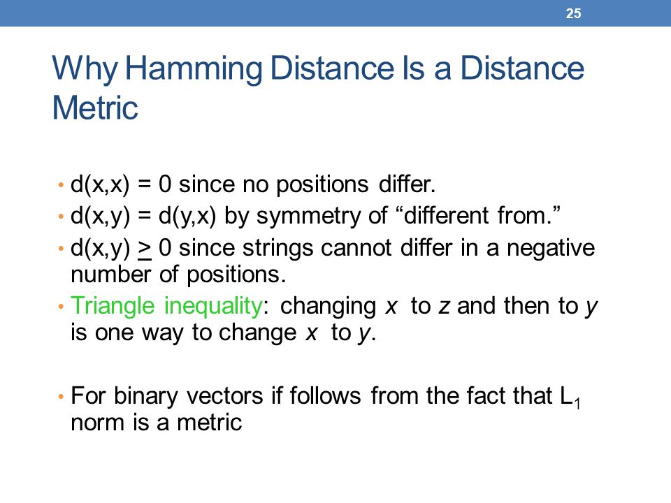 Why Hamming Distance Is a Distance Metric