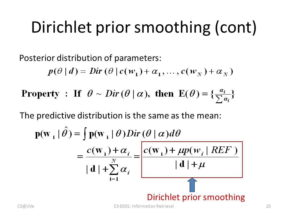 Dirichlet prior smoothing (cont)