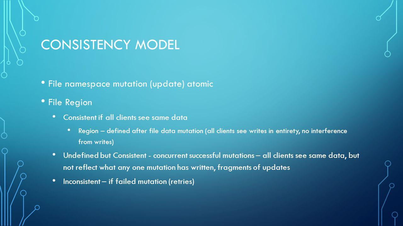 Consistency Model File namespace mutation (update) atomic File Region