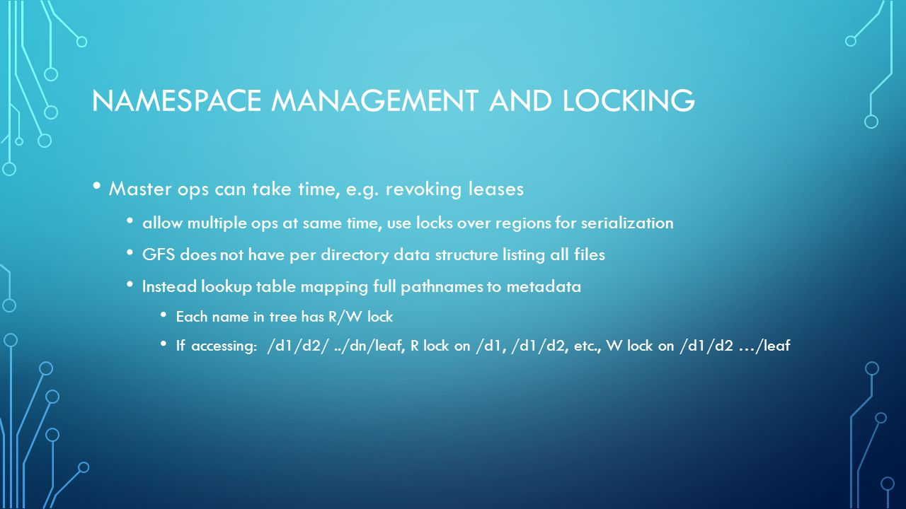 Namespace Management and Locking