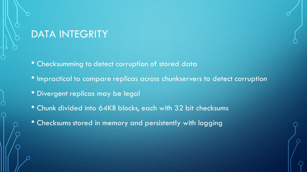 Data Integrity Checksumming to detect corruption of stored data