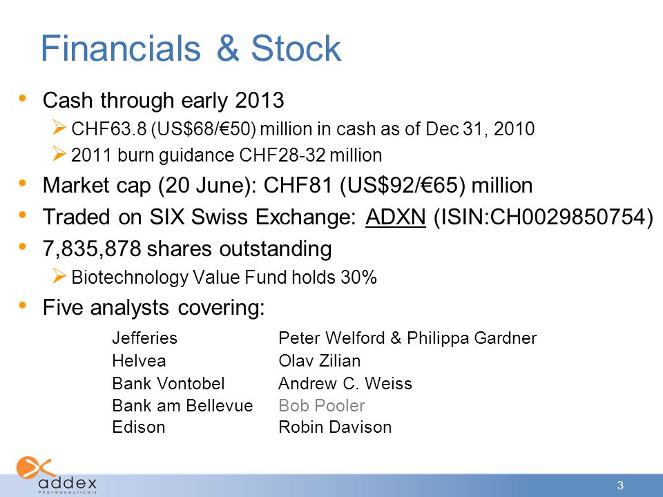 Financials & Stock Cash through early 2013