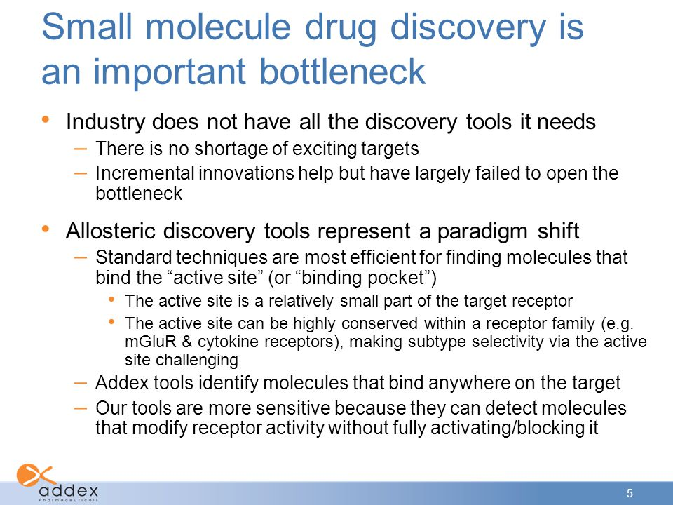 Small molecule drug discovery is an important bottleneck