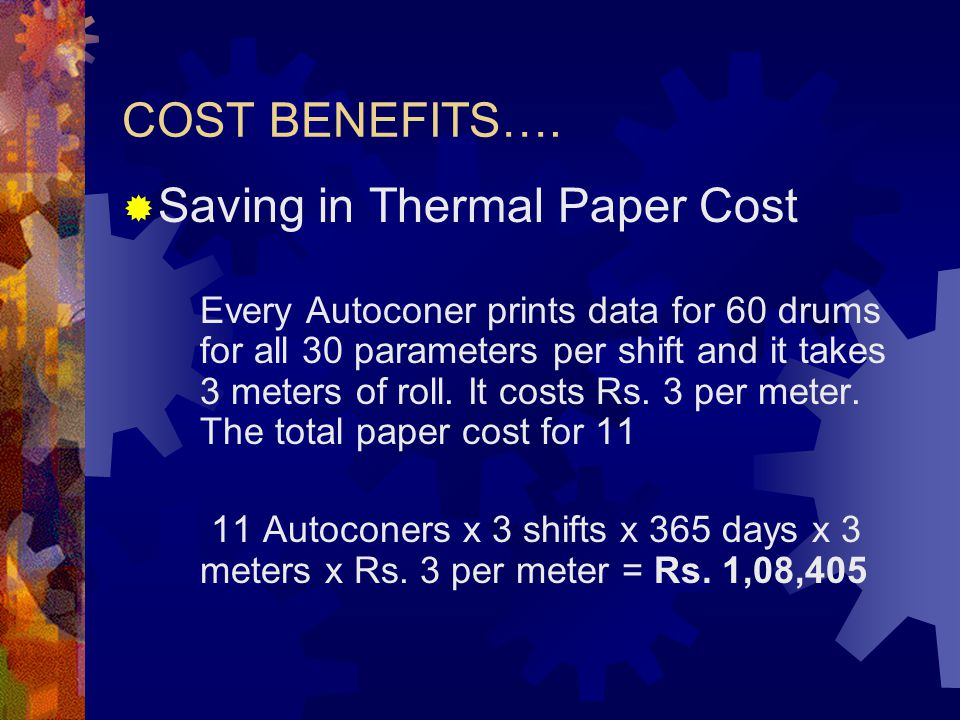 Saving in Thermal Paper Cost