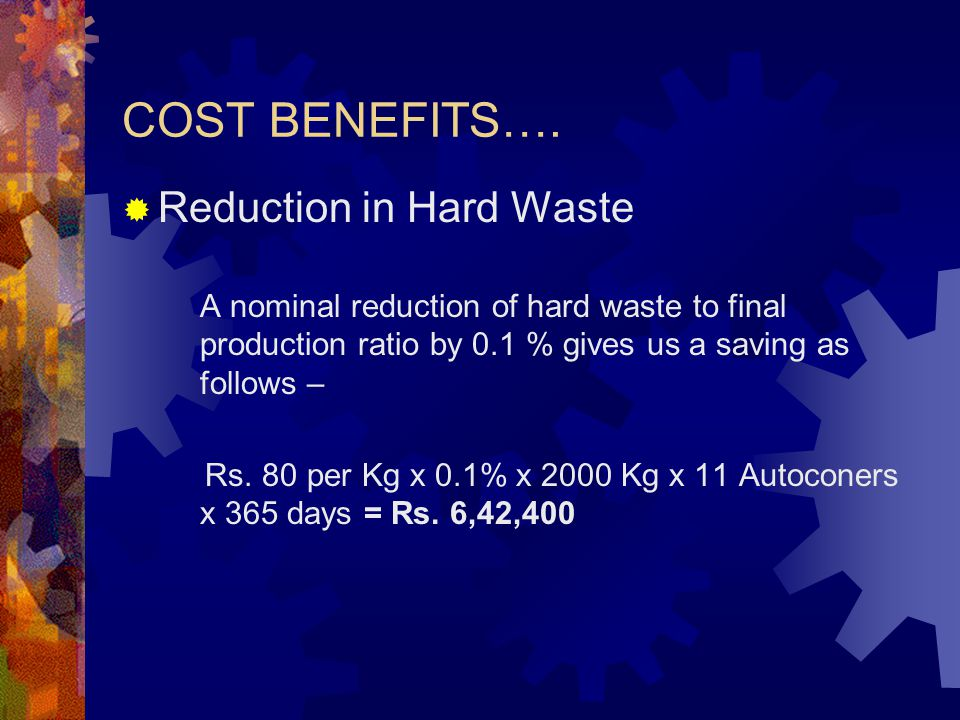COST BENEFITS…. Reduction in Hard Waste