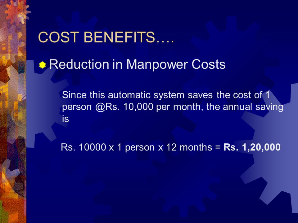 COST BENEFITS…. Reduction in Manpower Costs