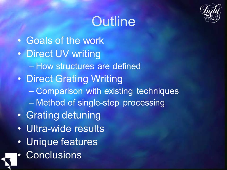 Outline Goals of the work Direct UV writing Direct Grating Writing