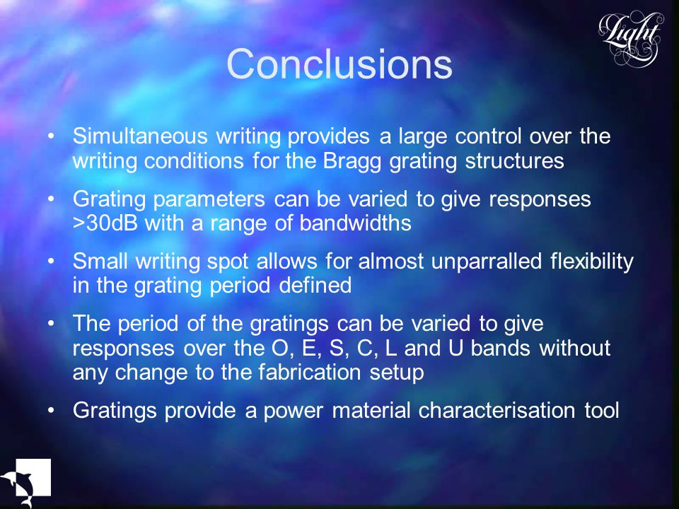 Conclusions Simultaneous writing provides a large control over the writing conditions for the Bragg grating structures.