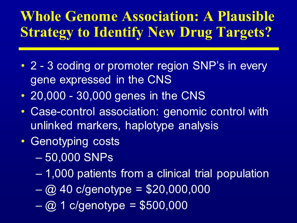 Whole Genome Association: A Plausible Strategy to Identify New Drug Targets