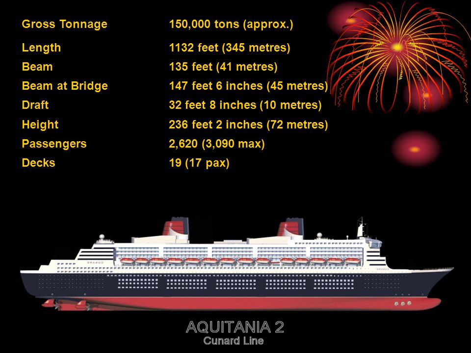 Gross Tonnage 150,000 tons (approx.) Length. 1132 feet (345 metres) Beam. 135 feet (41 metres) Beam at Bridge.