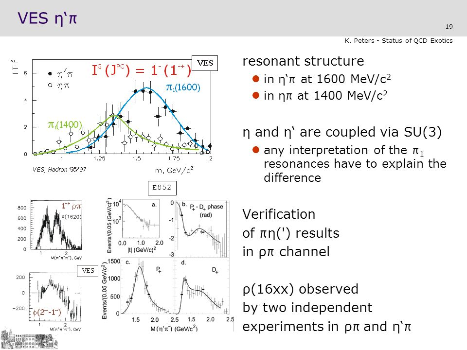 VES η'π resonant structure η and η' are coupled via SU(3) Verification