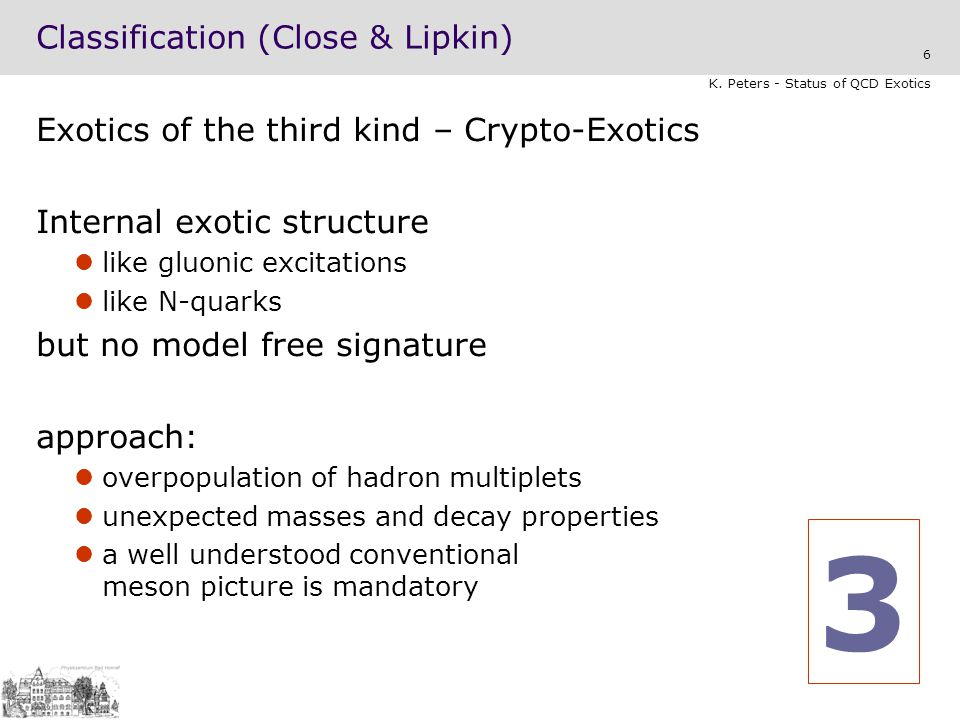 Classification (Close & Lipkin)