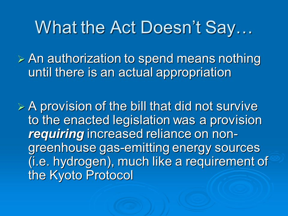 What the Act Doesn't Say…