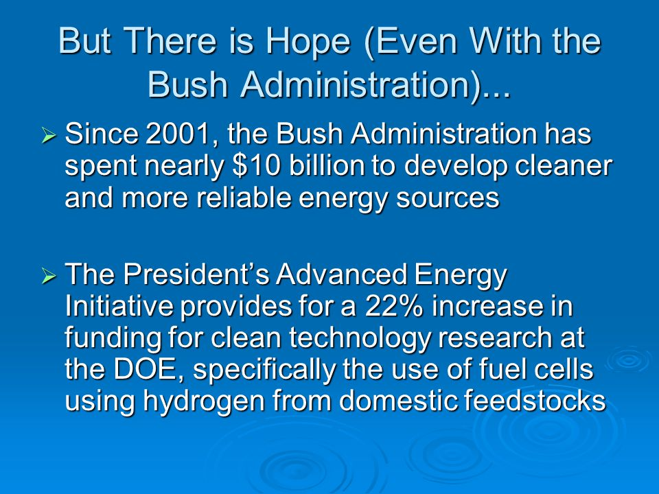 But There is Hope (Even With the Bush Administration)...
