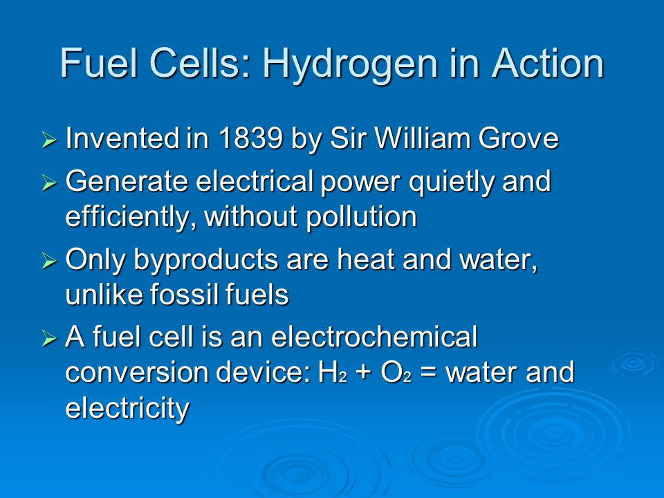Fuel Cells: Hydrogen in Action