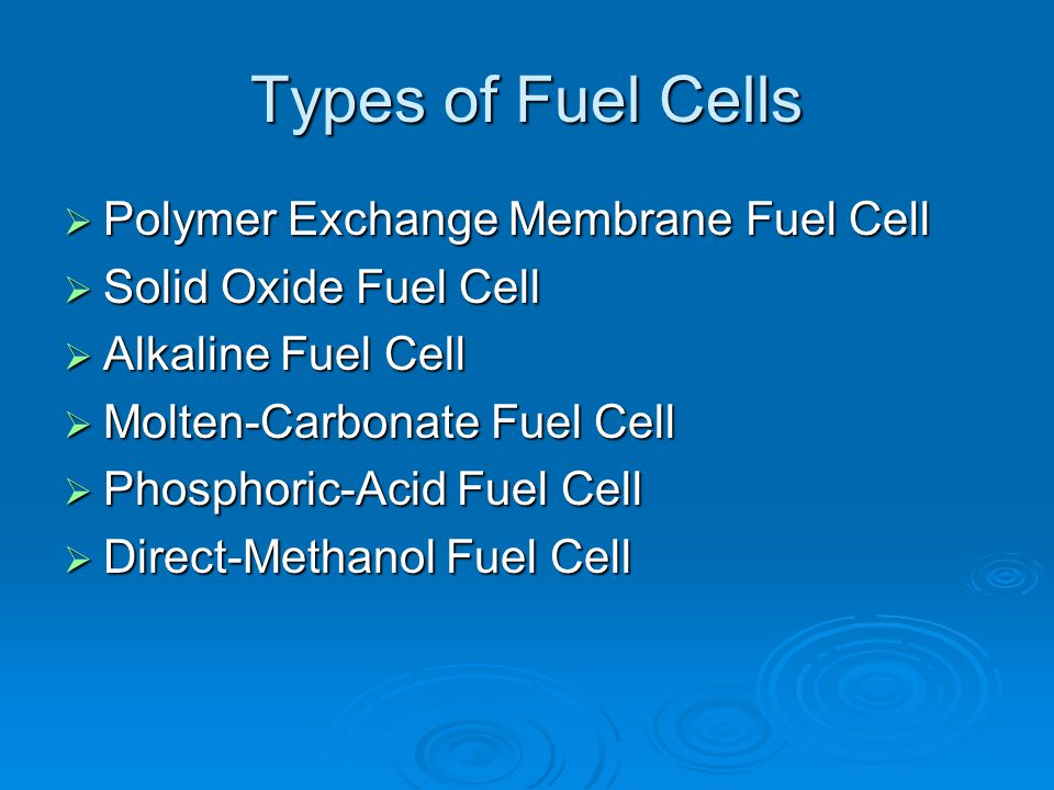Types of Fuel Cells Polymer Exchange Membrane Fuel Cell