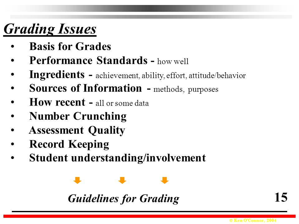 Grading Issues 15 Basis for Grades Performance Standards - how well