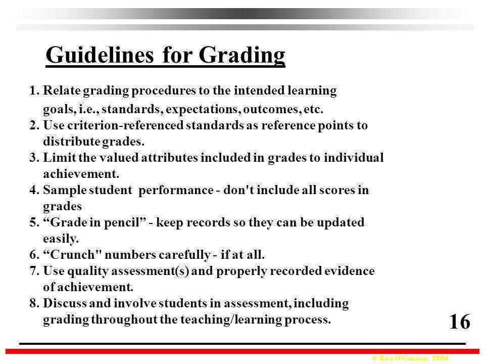 Guidelines for Grading