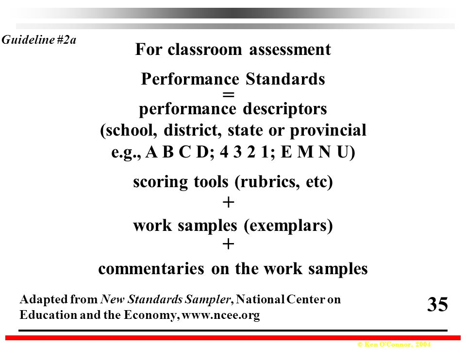 = + + 35 For classroom assessment Performance Standards