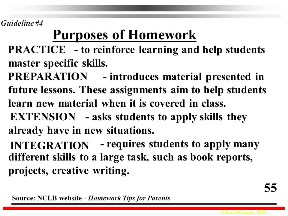 Purposes of Homework 55 PRACTICE