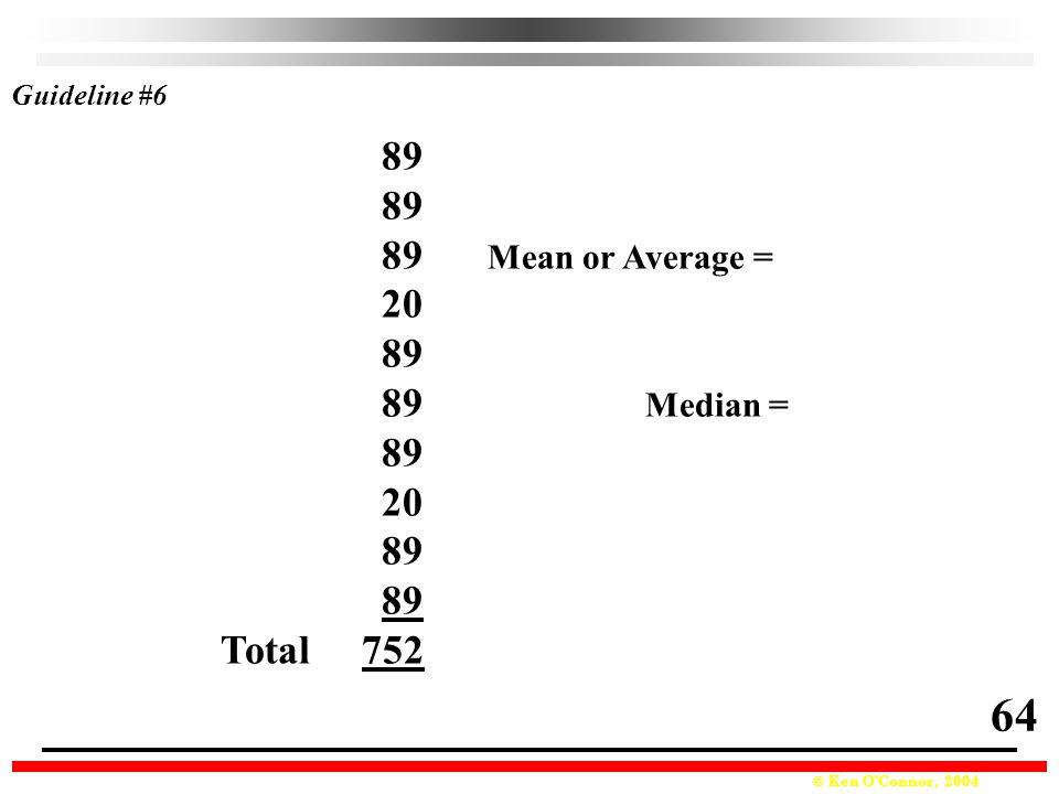 Guideline #6 89 89 Mean or Average = 20 89 Median = Total 752 64