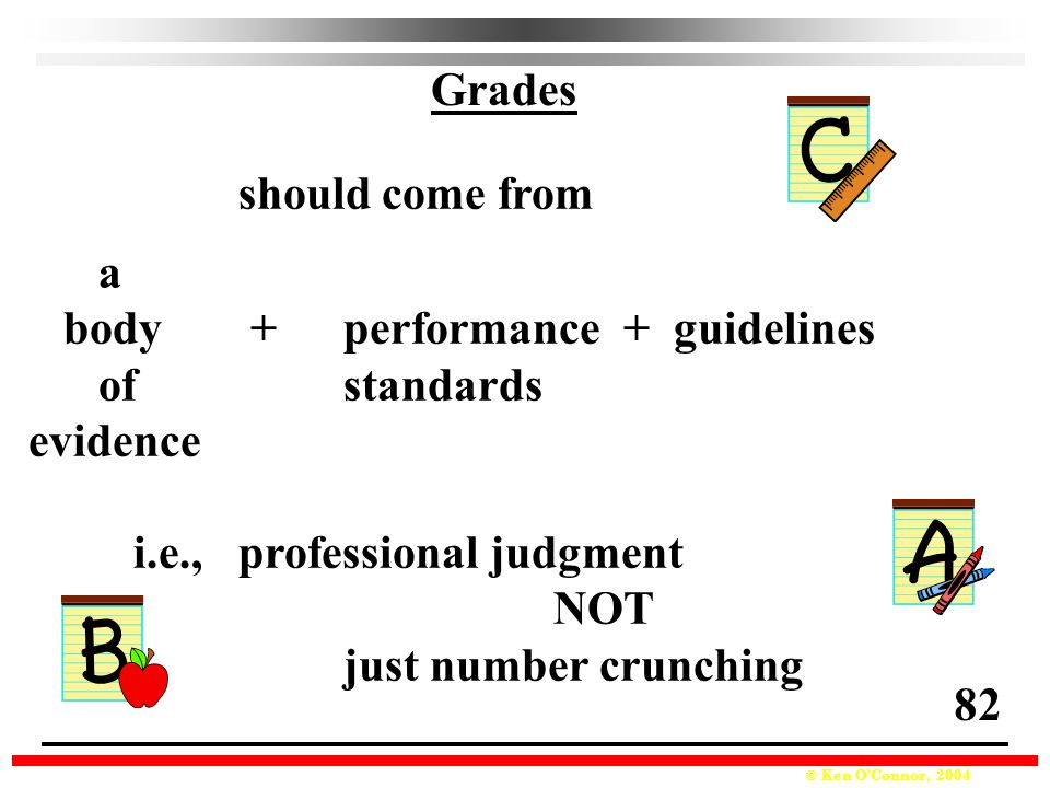 Grades should come from. a. body + performance + guidelines. of standards. evidence. i.e., professional judgment.