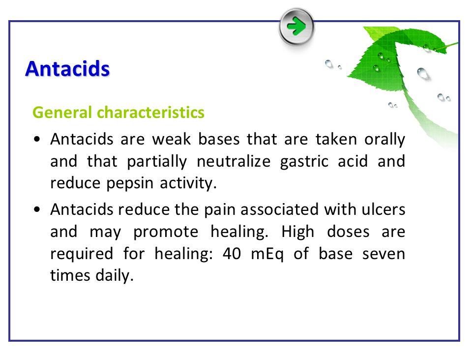 Antacids General characteristics