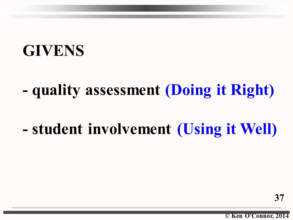 - quality assessment (Doing it Right)