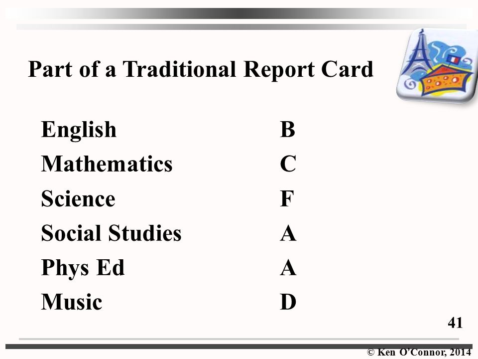 Part of a Traditional Report Card