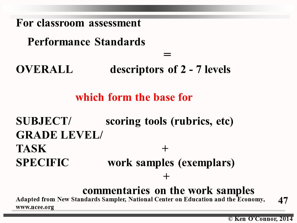 = For classroom assessment Performance Standards