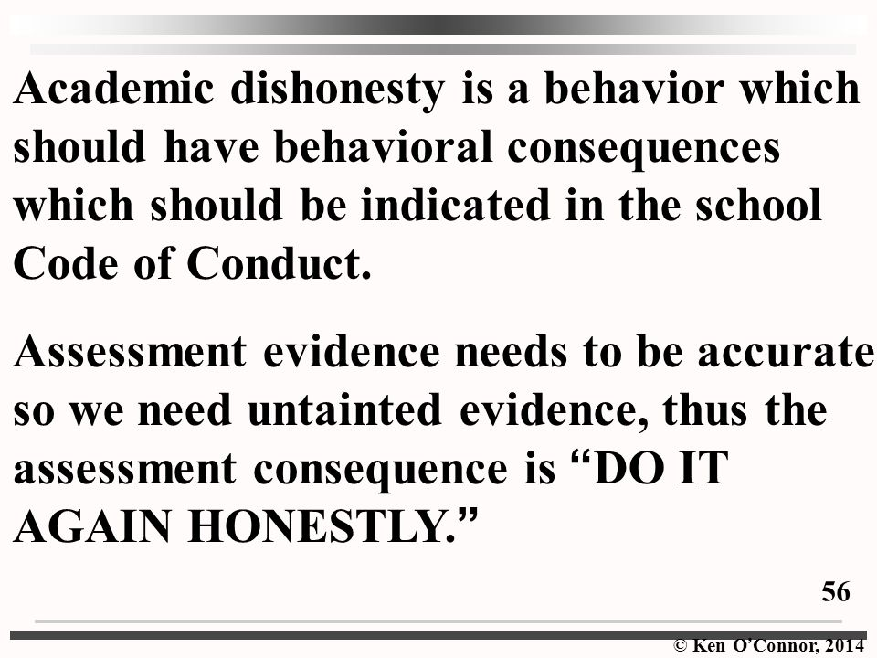 Academic dishonesty is a behavior which should have behavioral consequences which should be indicated in the school Code of Conduct.