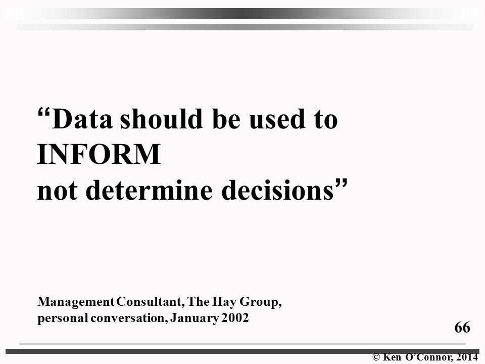 Data should be used to INFORM not determine decisions
