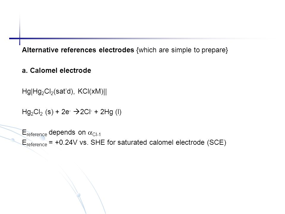 Alternative references electrodes {which are simple to prepare}