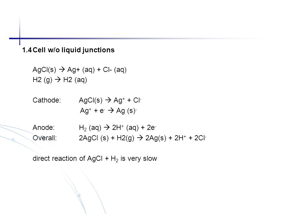 1.4 Cell w/o liquid junctions