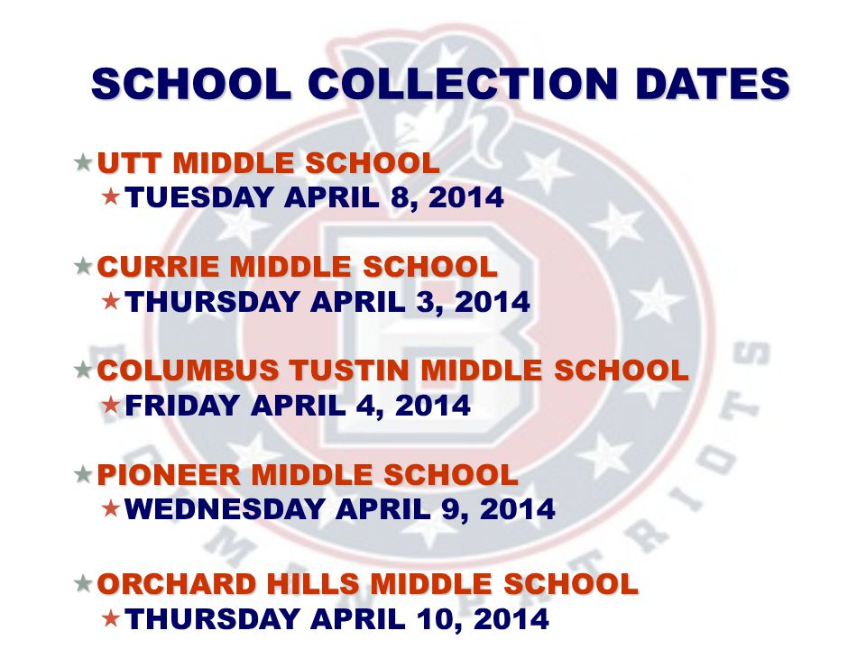 SCHOOL COLLECTION DATES