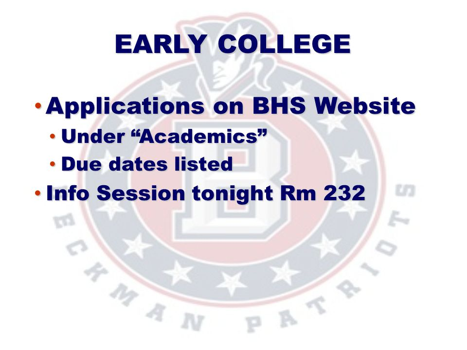 Applications on BHS Website