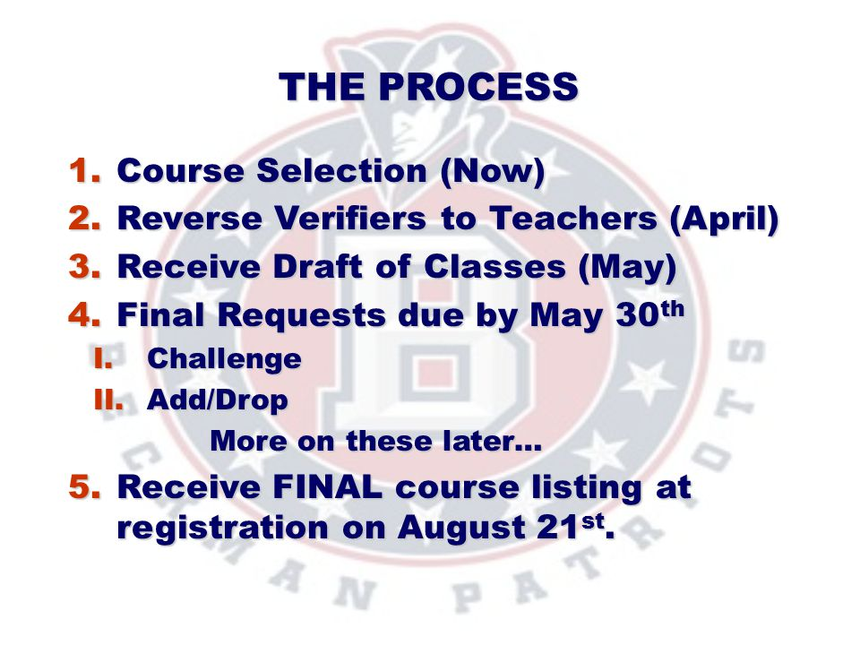 The Process Course Selection (Now)
