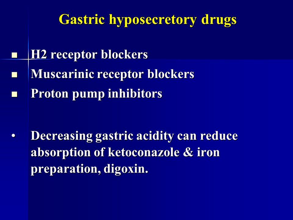 Gastric hyposecretory drugs