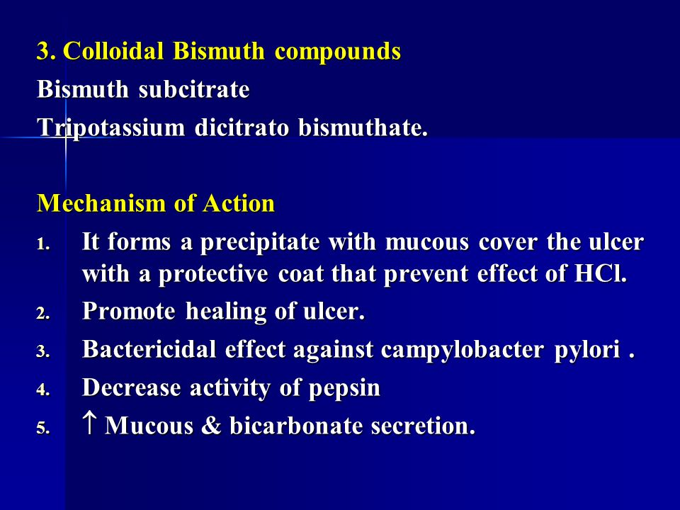 3. Colloidal Bismuth compounds