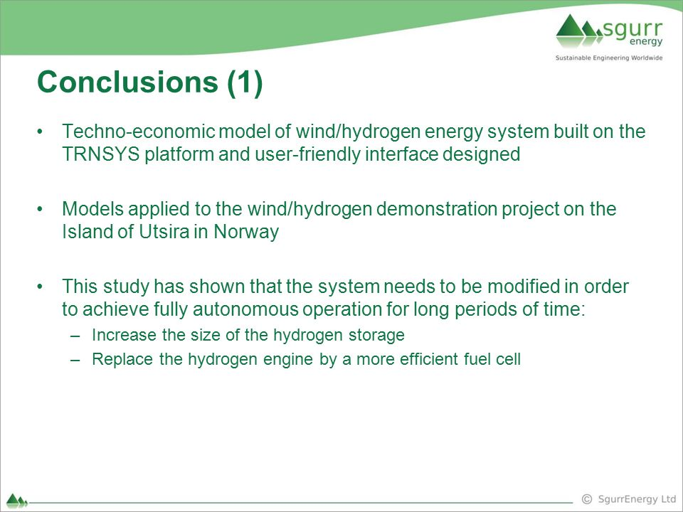Conclusions (1) Techno-economic model of wind/hydrogen energy system built on the TRNSYS platform and user-friendly interface designed.