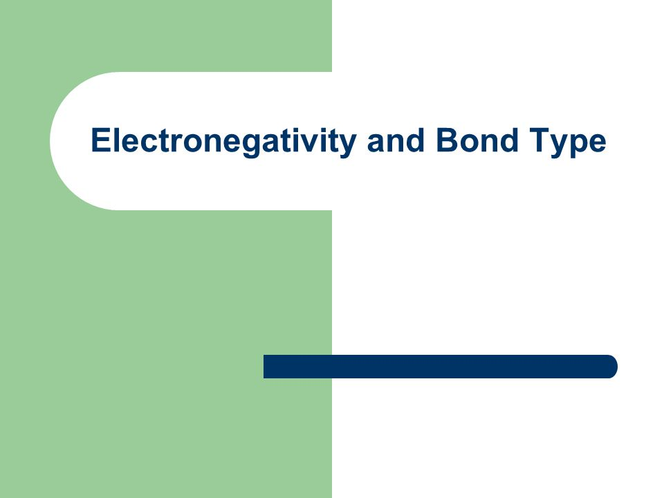 Electronegativity and Bond Type
