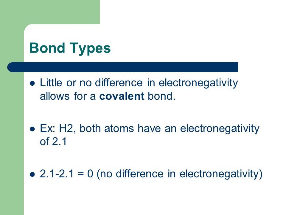 Bond Types Little or no difference in electronegativity allows for a covalent bond. Ex: H2, both atoms have an electronegativity of 2.1.