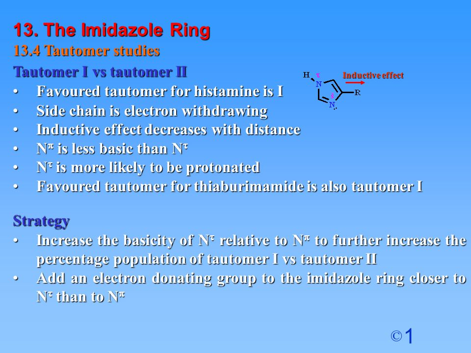 13. The Imidazole Ring 13.4 Tautomer studies Tautomer I vs tautomer II