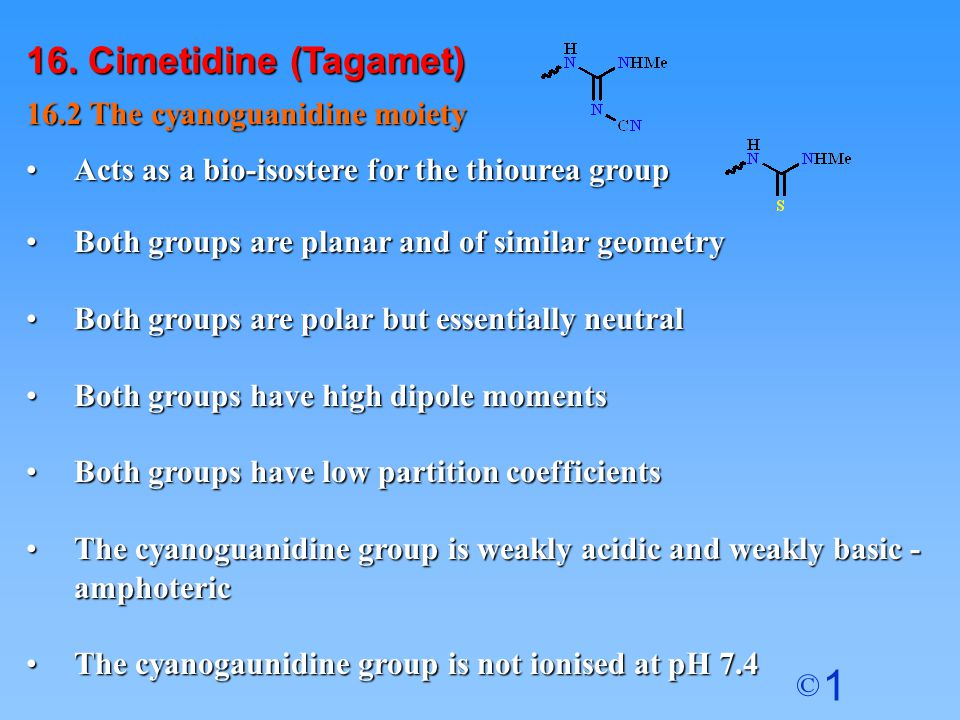 16. Cimetidine (Tagamet) 16.2 The cyanoguanidine moiety
