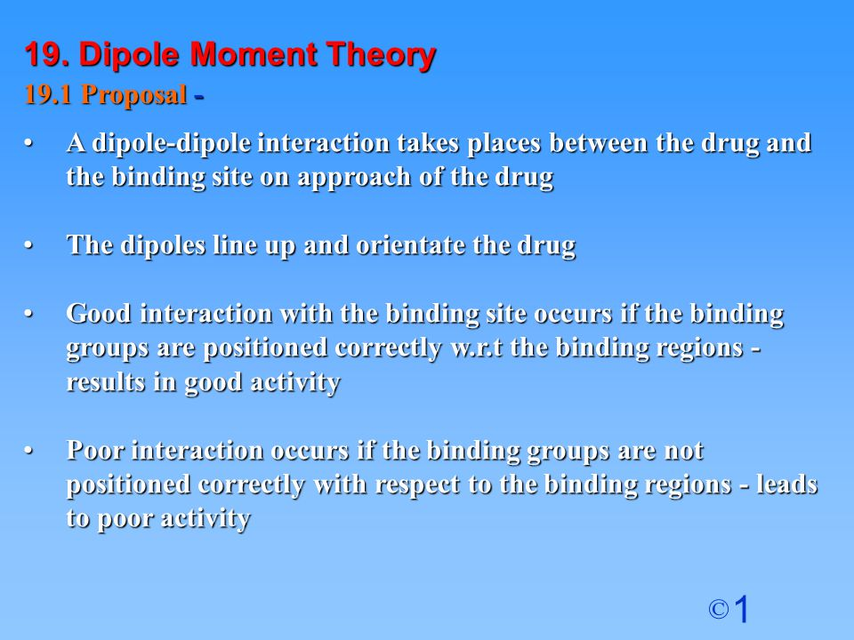 19. Dipole Moment Theory 19.1 Proposal -